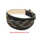 Luxury Leather Greyhound Dog Collars Rhinestones