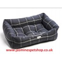 Dog Box Bed Polyester Charcoal Silver Tartan